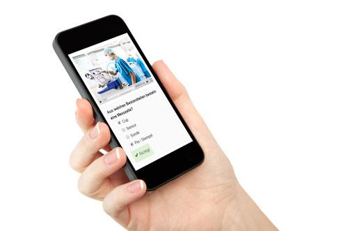 Mobile Learning mit Video und Lernzielkontrollen auf Smartphone
