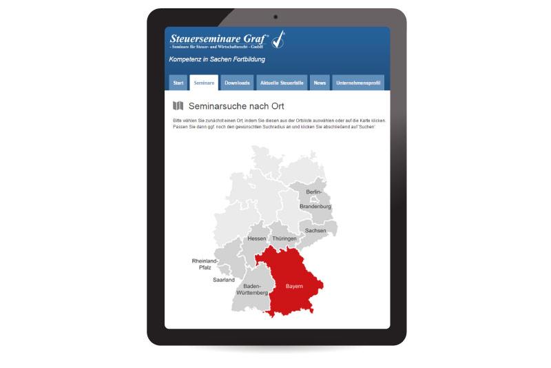 Schwarzes Tablet mit Seminar-Plattform