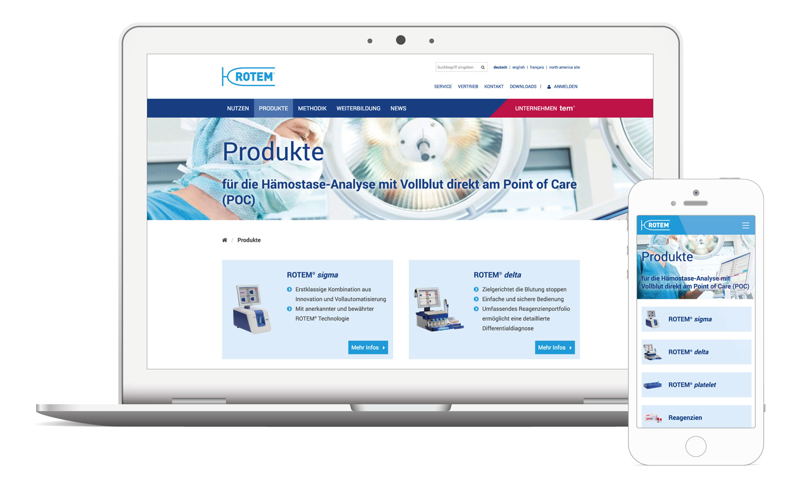 Relaunch: die neue internationale Produkt- und Unternehmenswebsite rotem.de im responsive Webdesign auf verschiedenen Endgeräten